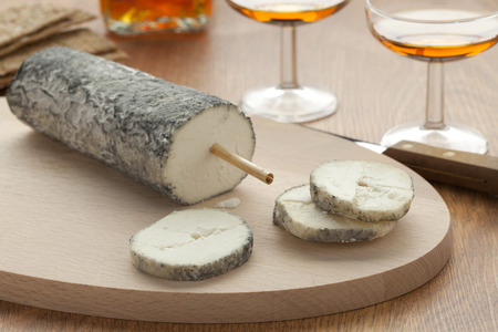 touraine:  Fresh Sainte-Maure de Touraine and a slice Stock Photo