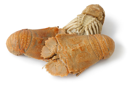 flathead: Three cooked flathead lobsters on white background Stock Photo