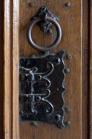 doorknocker: Detail of an antique doorknocker in the church in Delft, Netherlands
