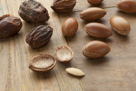 argan: Argan nuts and nutshells Stock Photo