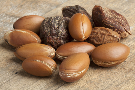 Whole Argan nuts Stock Photo