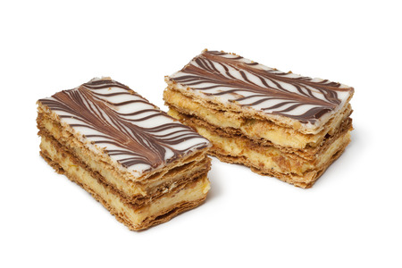 mille: Moroccan mille feuille pastries on white background Stock Photo
