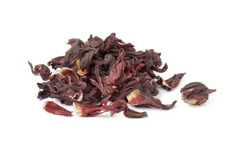 diuretic: Heap of dried hibiscus flowers on white background Stock Photo