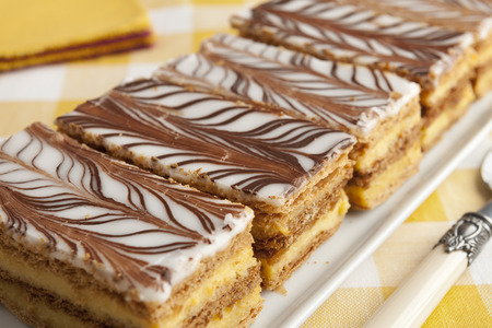 mille: Moroccan mille feuille pastries in a row