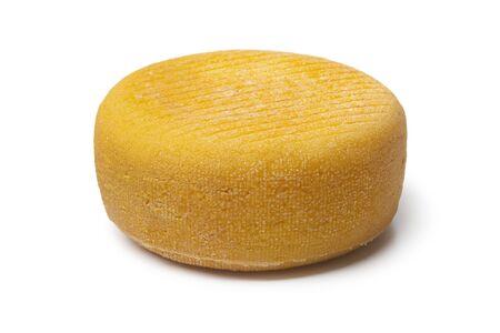salut: Whole Port salut cheese on white background Stock Photo