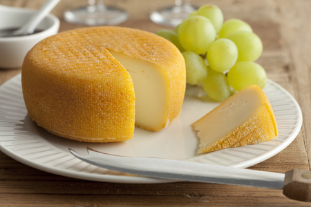 moulded: Port salut cheese for dessert Stock Photo