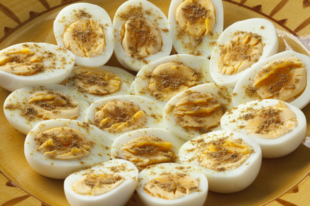 Moroccan traditional boiled eggs with salt and cumin for iftar in ramadan time close up Stock Photo