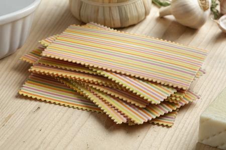 primavera: Raw traditional festive Italian colorful lasagna primavera Stock Photo