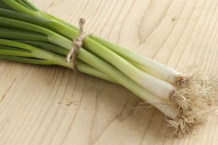 scallion: Bunch of fresh spring onions Stock Photo