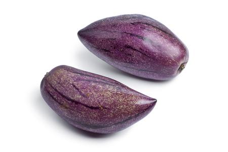 pepino: Fresh whole ripe pepino fruit on white background Stock Photo