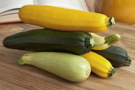 courgettes: Pile of fresh raw courgettes in different colors