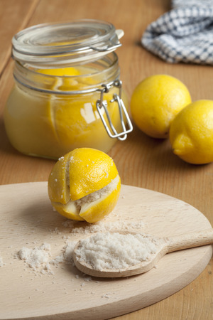 arabic: Moroccan Preserved Lemons with salt Stock Photo