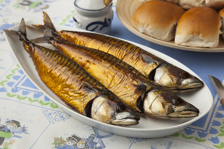 fresh fish: Traditional dutch fresh smoked mackerels and white rolls