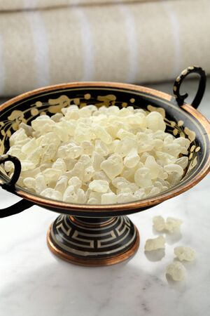 masticate: Mastic tears of Chios in a Greek bowl for cosmetic use