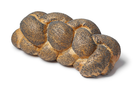 challah: Whole fresh Challah bread with poppy seeds on white background