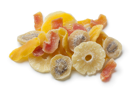 Dried and candied fruit on white background