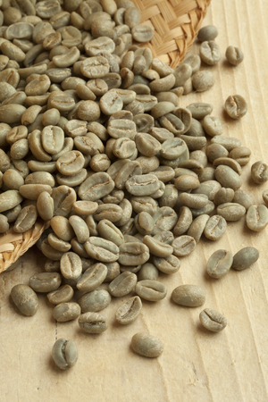 unroasted: Heap of Bolivian Yanaloma green unroasted coffee beans Stock Photo