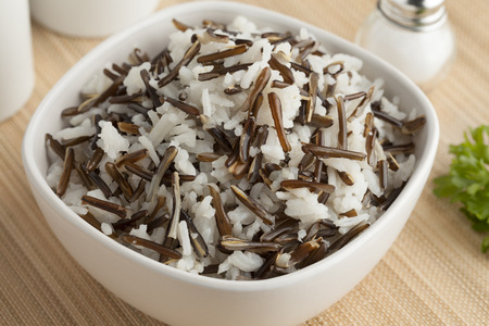 wild rice: Bowl with a mix of basmati and Indian rice Stock Photo