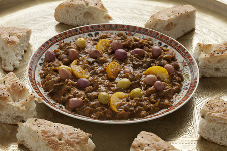 holiday tradition: Dish with traditional moroccan kercha and bread for Eid al-Adha