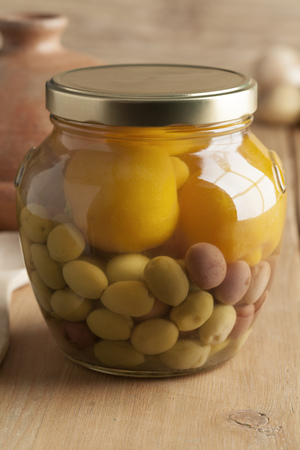 glass jar: Moroccan glass jar with preserved olives and lemons