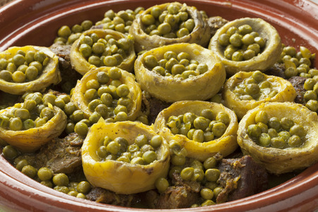 green peas: Traditional Moroccan tagine with meat, artichoke hearts and green peas