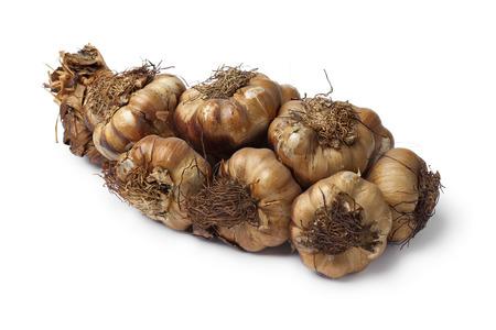 smoked: Smoked garlic braid on white background