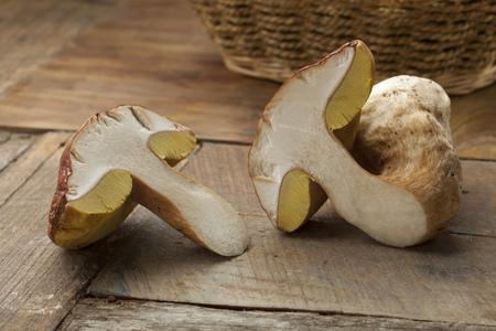 spores: Fresh half porcini mushroom with yellow spores