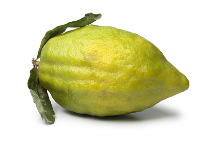 Fresh green Citrus medica  on white background