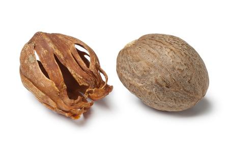 mace: Single nutmeg kernel and mace on white background Stock Photo