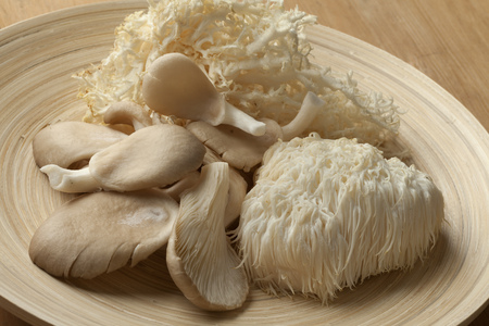 Bowl with fresh coral fungus, Lions Mane Mushroom and oyster mushrooms Stock Photo