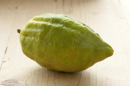 etrog: Fresh green Citrus medica Stock Photo