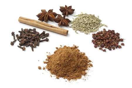 Five spices  on white background to make five-spice powder