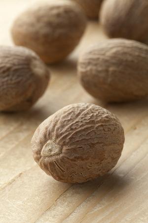 kernel: Single nutmeg kernel close up