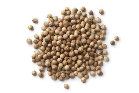 Dried coriander seeds on white background