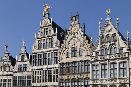 guildhalls: Row of facades of Flemish guild houses on the Grote markt in Antwerp, Belgium