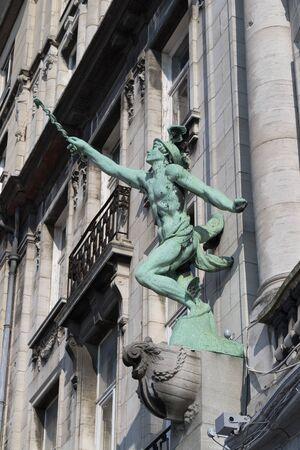 historical monument: Statue on the Hansahuis on the Suikerrui in Antwerp, Belgium