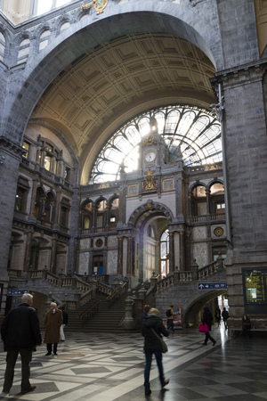 history architecture: Entrance of the Antwerp Central railway station Editorial