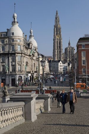 history architecture: View from Steenplein down Suikerrui towards Onze Lieve Vrouwkathedraal, Antwerp, Belgium Editorial