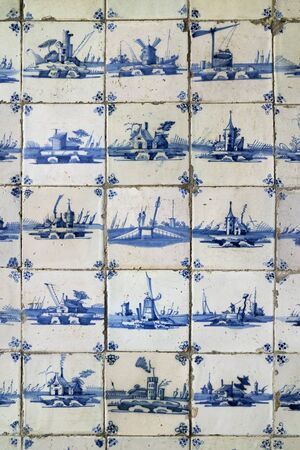 tableau: Old blue and white tiles in the Steen Castle in Antwerp, Belgium