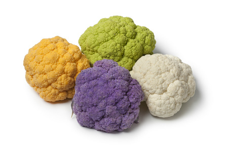 Variety of different colors mini cauliflower on white background