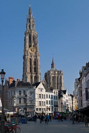antwerp: Onze-Lieve-Vrouwekathedraal and Suikerrui in Antwerp, belgium