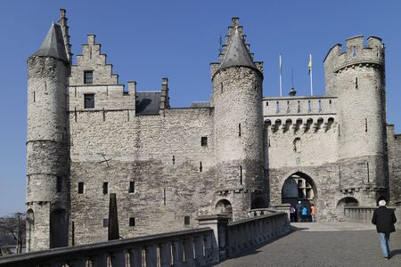 monument historical monument: Entrance gate to the Steen Castle on banks of Schelde river in Antwerp, Belgium