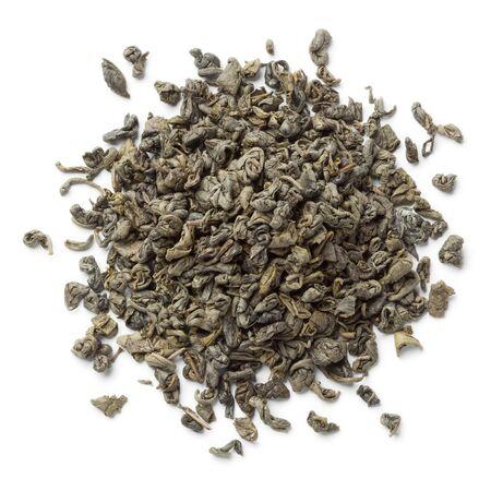 gunpowder: Heap of green gunpowder tea pellets on white background