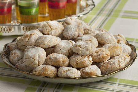 Traditional Moroccan savory coconut cookies on a dish close up Stock Photo