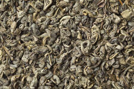 gunpowder tea: Green gunpowder tea pellets full frame Stock Photo