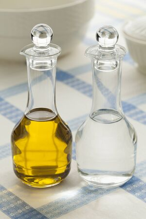 condiment: Oil and vinegar bottles for condiment