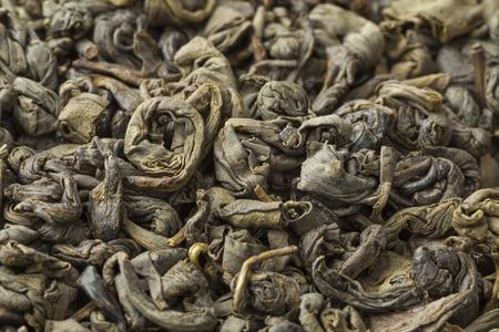 gunpowder tea: Green gunpowder tea pellets full frame close up