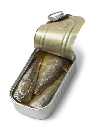 sardinas: la lata abierta de sardinas en aceite en el fondo blanco Foto de archivo