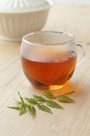 neem: Glass with Neem tea and Neem twig