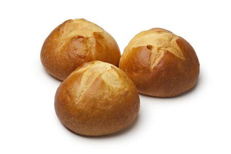 fresh baked: Fresh baked french brioches on white background